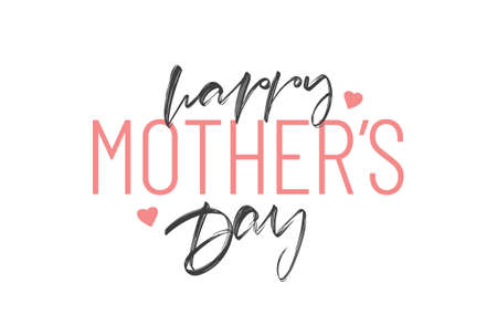 Vector illustration: Hand Lettering composition of Happy Mother's Day with pink hearts on white background. Illusztráció