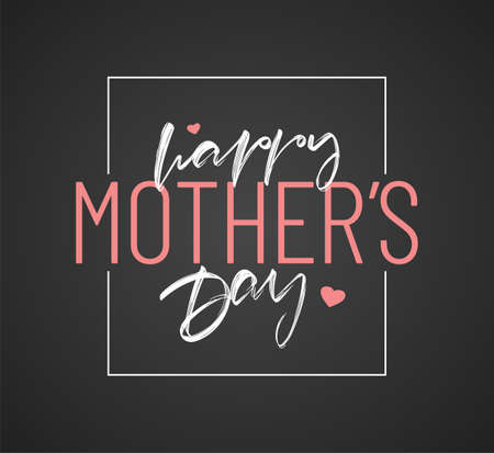 Vector illustration: Lettering composition of Happy Mother's Day on chalkboard background. Illusztráció