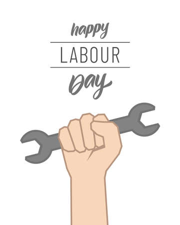 Clenched fist with wrench, Poster with lettering composition of Happy Labour Day 1st of May