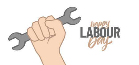 Clenched fist with wrench, Poster with hand lettering composition of Happy Labour Day 1st of May