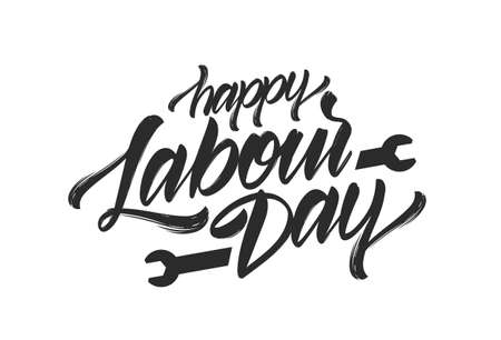 Handwritten brush type lettering of Happy Labour Day.