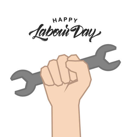 Clenched fist with wrench, Poster with hand lettering of Happy Labour Day 1st of May