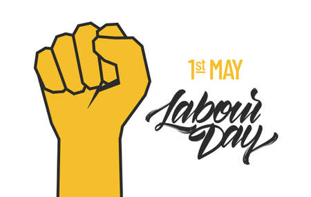 Vector clenched fist, Poster with lettering composition of Happy Labour Day 1st of May.