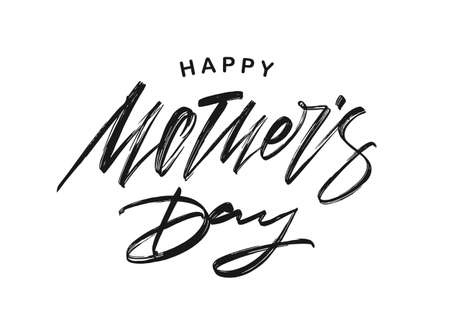 Vector illustration: Handwritten textured lettering of Happy Mother's Day isolated on white background.