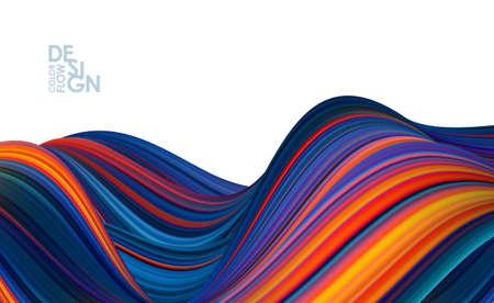 Vector illustration: Modern abstract banner background with 3d twisted color flow liquid shape. Ilustração