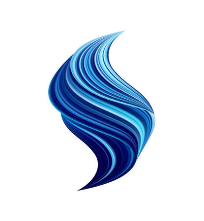 Vector illustration: 3d twisted blue color flow liquid shape on white background. Acrylic paint sroke.