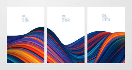 Vector illustration: Set of three colorful flow poster backgrounds. Modern design.