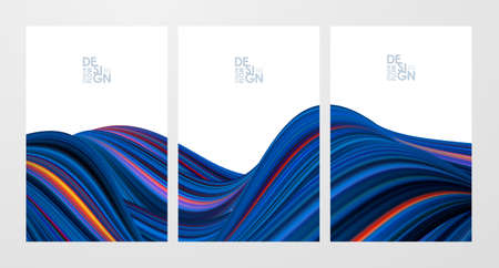 Vector illustration: Set of three blue color flow poster backgrounds. Modern design.