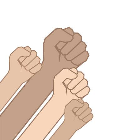 Vector Fists hands on white background. Unity concept, revolution, fight, protest.