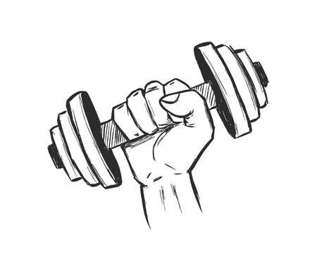 Hand drawn dumbbell fist. Sketch Design. Gym emlem Ilustração