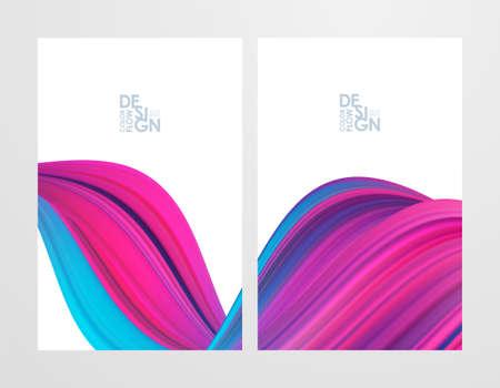 Set of two pink color flow poster backgrounds. Modern design.