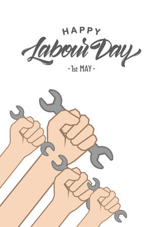 Vector Fists hands with wrench. Happy Labor Day 1th of May Ilustração
