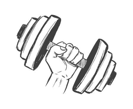 Hand drawn fist with big dumbbell. Sketch Design. Gym emlem