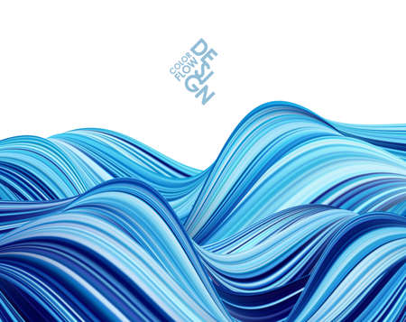 Blue color paint flow. Abstract wave background.