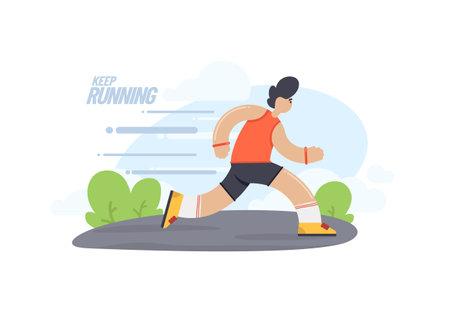 Vector flat running man. Cartoon illustration of athlete run. Outdoor training