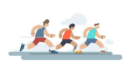 Vector illustration Flat Marathon race group. Running competition.