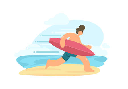 Vector illustration of running surfer with surfboard on sunny beach. Flat cartoon scene Ilustração
