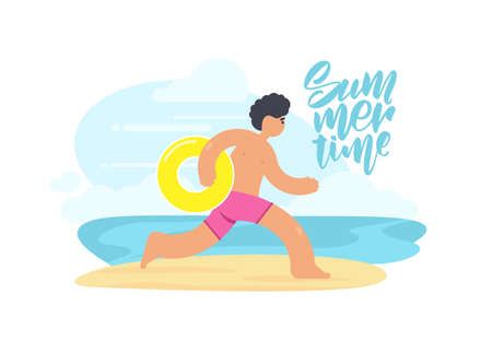 Vector illustration of running man with yellow Inflatable ring on sunny beach background. Flat cartoon scene