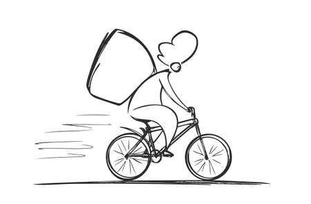 Vector hand drawn Courier on bicycle. Food delivery Ilustração