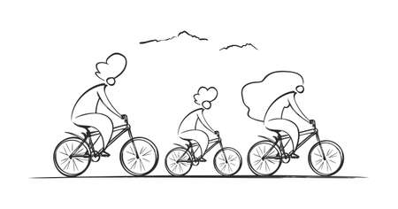 Vector Hand Drawn Cute family riding bicycles. Leisure and Sports outdoor activity. Sketch line design