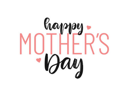Vector Lettering composition of Happy Mothers Day isolated on white background Ilustração