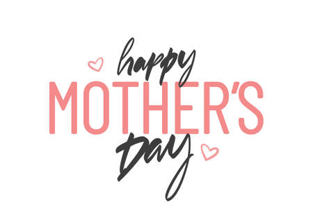 Vector Hand Lettering composition of Happy Mothers Day on white background