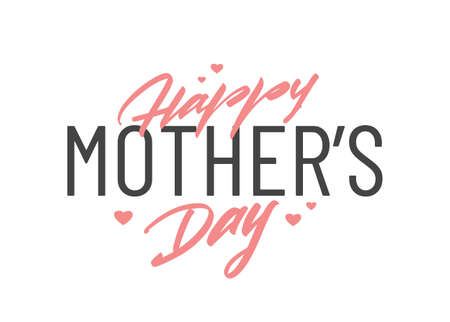 Vector Handwritten Lettering composition of Happy Mothers Day on white background