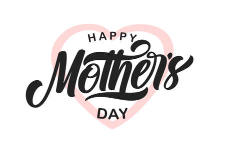 Vector illustration: Calligraphic type lettering composition of Happy Mothers Day. Ilustração