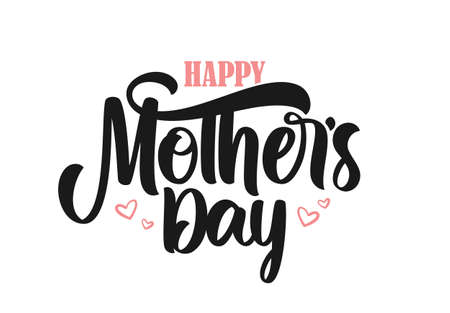 Vector illustration: Calligraphic brush lettering composition of Happy Mothers Day.