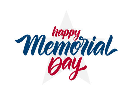 Vector Calligraphic lettering of Happy Memorial Day with star on white background.