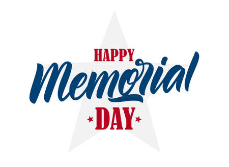 Vector Calligraphic lettering composition of Happy Memorial Day with star on white background.