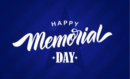 Vector Calligraphic lettering composition of Happy Memorial Day with star on blue background. Ilustração