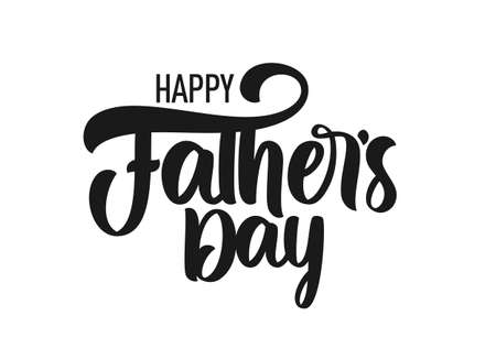 Vector Calligraphic brush type lettering composition of Happy Father's Day. Greeting card. Ilustração