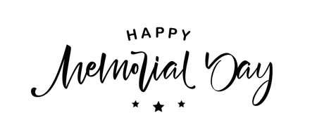 Vector illustration: Handwritten brush Calligraphic lettering composition of Happy Memorial Day.