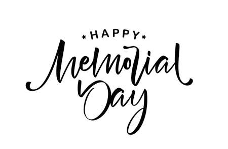 Handwritten brush Calligraphic lettering of Happy Memorial Day on white background