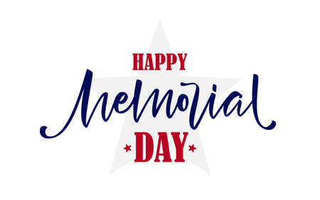 Vector illustration: Lettering composition of Happy Memorial Day on white background
