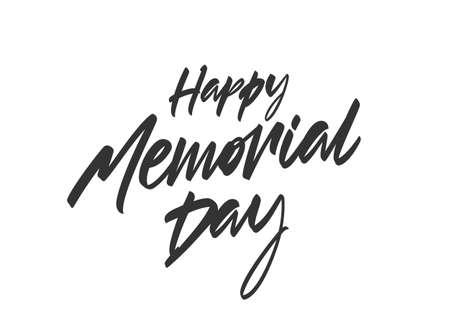 Vector illustration: Handwritten brush Calligraphic lettering of Happy Memorial Day. Ilustracja