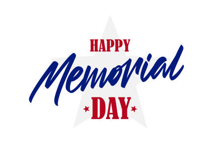 Lettering composition of Happy Memorial Day on white background.