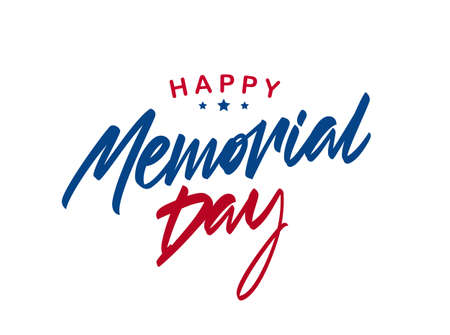 Vector Lettering composition of Happy Memorial Day on white background Ilustracja