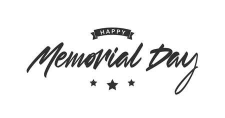 Vector Handwritten brush Calligraphic lettering composition of Happy Memorial Day.
