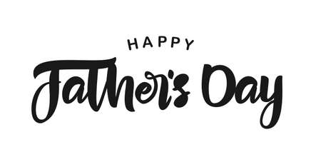 Calligraphic brush lettering composition of Happy Fathers Day. Greeting card