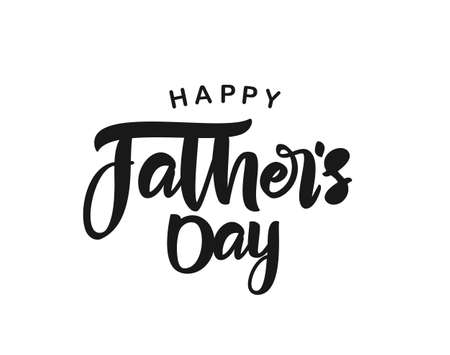 Calligraphic brush type lettering composition of Happy Fathers Day. Greeting card Ilustracja