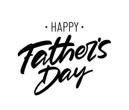 Vector handritten brush type lettering of Happy Fathers Day on white background. Ilustracja