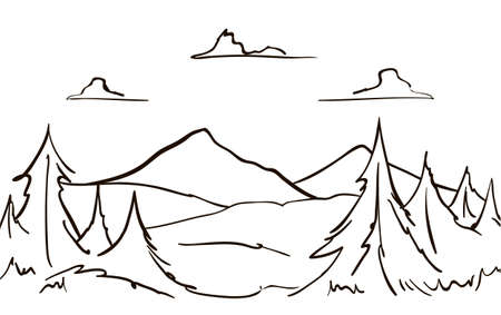 Vector Hand drawn Mountains sketch landscape with hills, pine and clouds. Line design