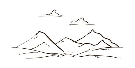 Vector Hand drawn Mountains sketch landscape with peaks and clouds. Line design 矢量图像