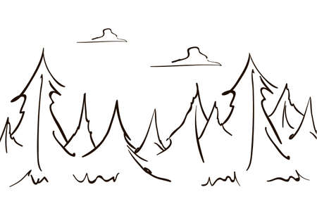 Vector Hand drawn sketch forest landscape pine and clouds. Line design