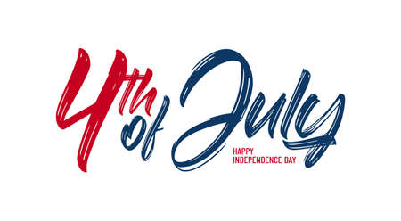 Brush lettering composition of 4th of July on white background. Happy Independence Day