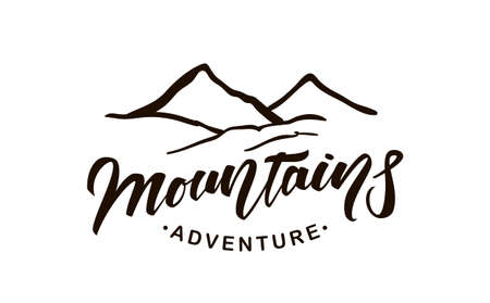 Vector emblem with lettering of Mountains Adventure and Hand drawn Peaks of Mountains.