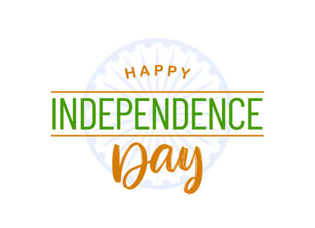 Vector Greeting card with hand lettering of Happy Independence Day. 15 th August. Salute India.
