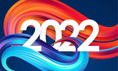 Vector Year 2022 number with colorful abstract twisted paint stroke shape. Trendy design